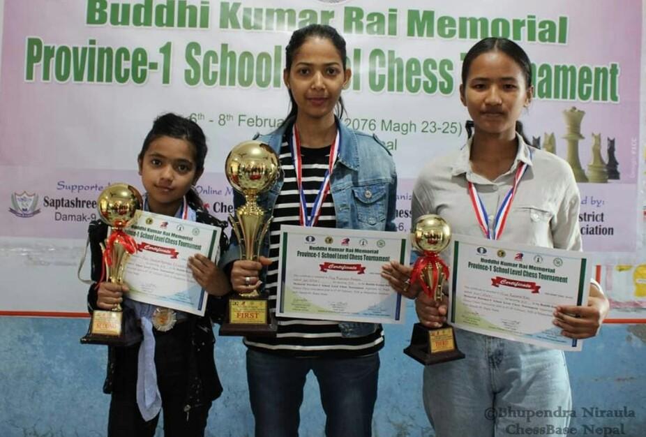 प्रदेश स्तरीय बुद्धिचाल प्रतियोगीताको उपाधि सप्तकोशीका आदेश र कोहेडकी पुनम लाई