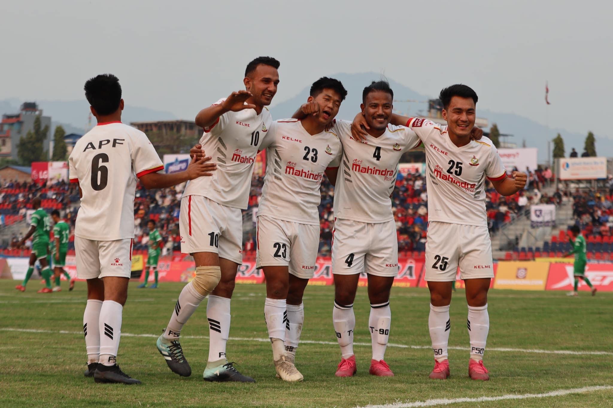आयोजक साहारा क्लबलाइ पराजित गर्दै नेपाल एपिएफ क्लब सेमिफाइनलमा प्रवेश  ।