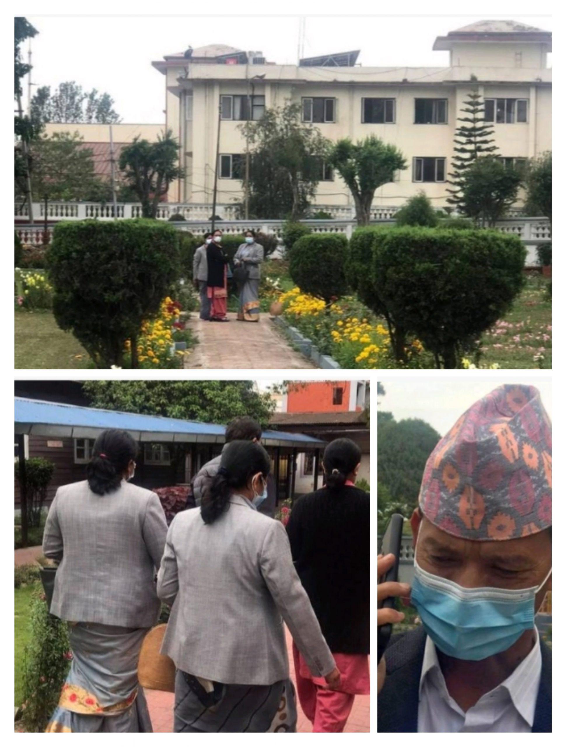 माधब नेपाल पक्षीय नेताहरु सिंहदरबारमा : सामुहिक राजिनामा दिदै