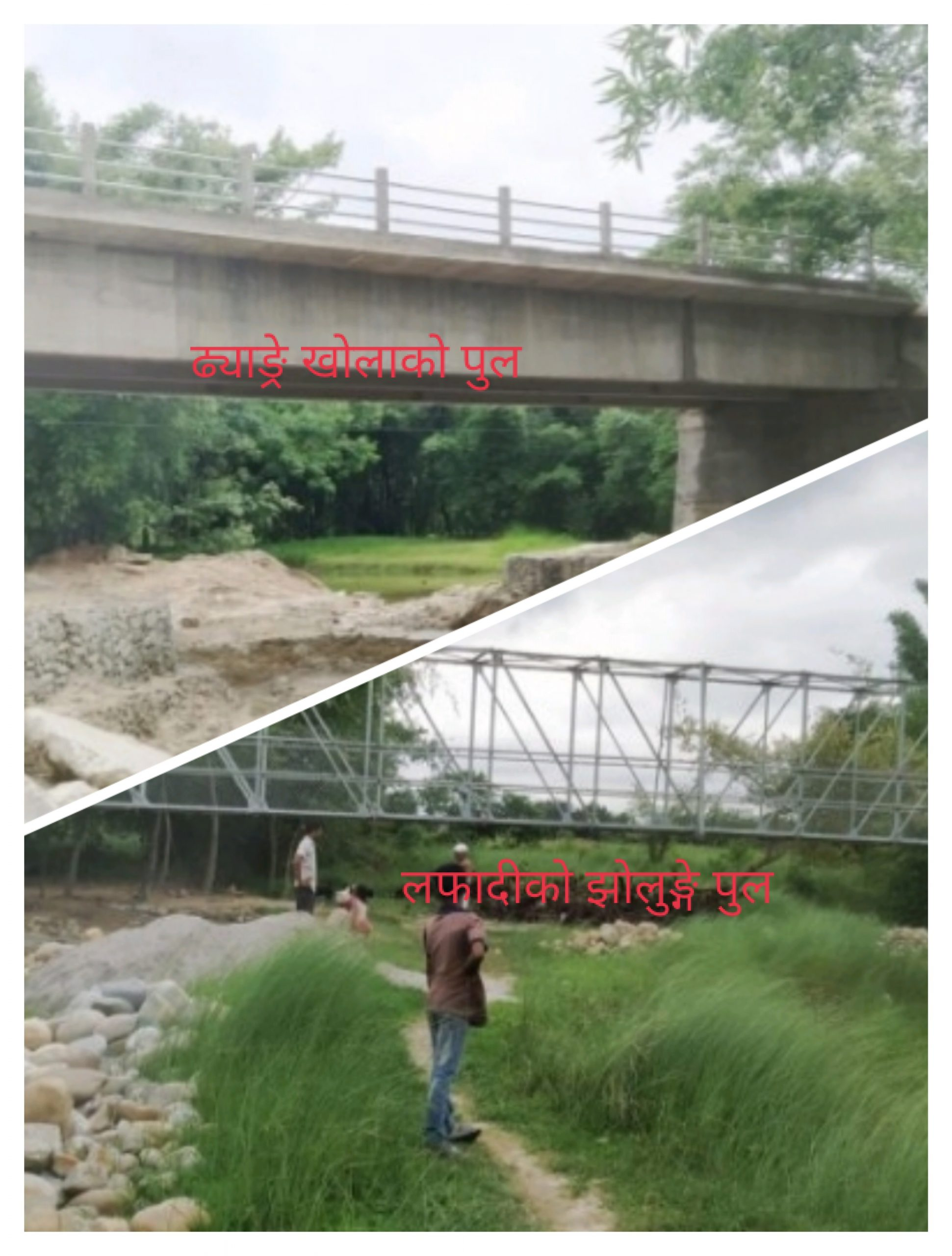 ढ्याङ्ग्रे र लफादीमा पुल बनेपछि बर्षाैंकाे सास्तीबाट स्थानीयलाई मुक्ति